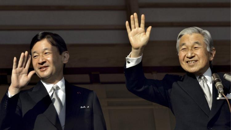 Il principe Naruhito e l'attuale imperatore Akihito